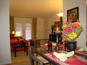 Spacious living room and dining area at Oak Run Apartments