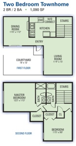 Two bedroom two bath floor plant at Riverside Townhome Apartments in Austell.