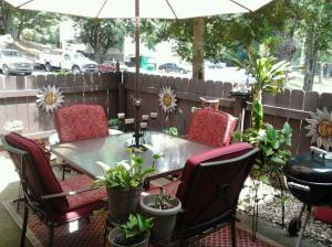 The private patio at Riverside Apartment Townhomes