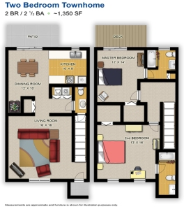 The 2 bedroom floor plan at Lakeside