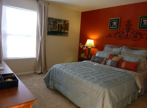 The model bedroom at Maplewood Apartments for rent