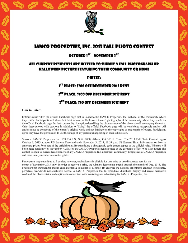 JAMCO Properties Fall Photo Contest
