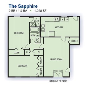 2 BR Floor Plan Emerald Pointe