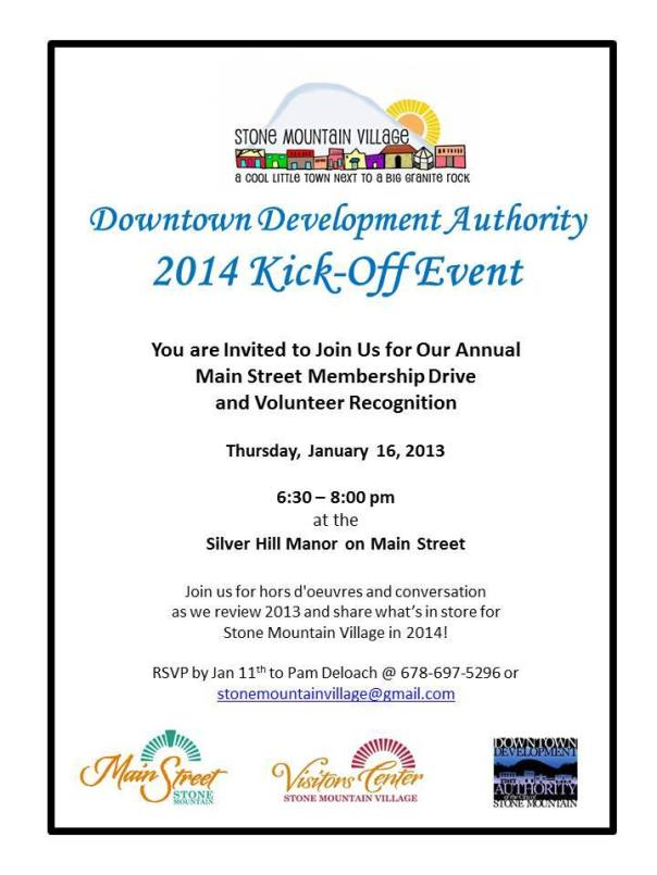 Stone Mountain hosts the 2014 Downtown Development Authority hosts its annual kickoff event January 16