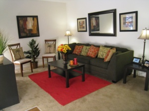Model living room at Riverside Apartment Townhomes